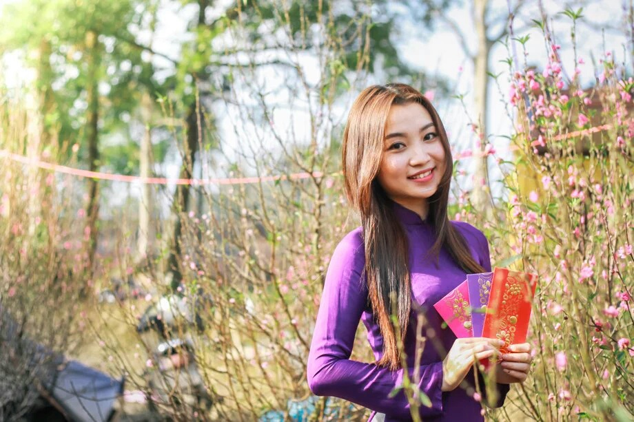 Donna vietnamita in abito tradizionale