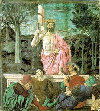 Pasqua. In questo bellissimo dipinto, Gesù risorge mentre le guardie del sepolcro dormono di un sonno profondo e dunque non possono assistere al miracolo.