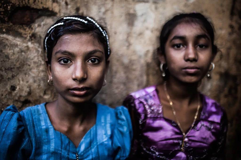"""Rohingya girls in the Muslim """"ghetto"""" of Sittwe , Myanmar."""