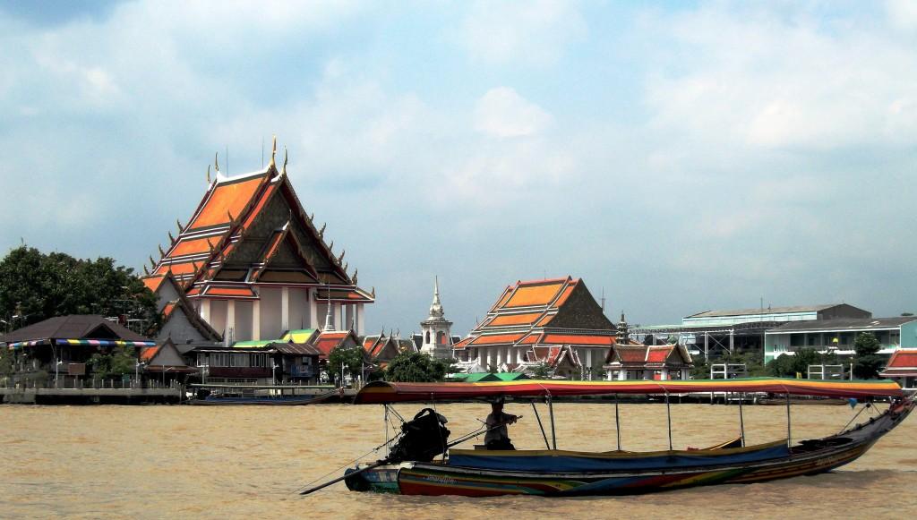 barca bangkok thailandia fiume tempio