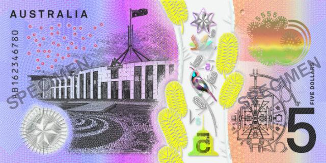 australia banconota 5 dollari ciechi retro
